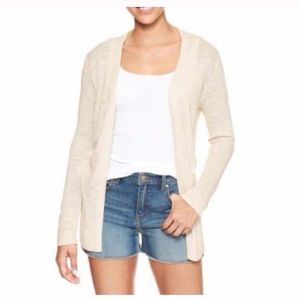 Gap Factory Spring Slub Knit Cardigan Cream XXL